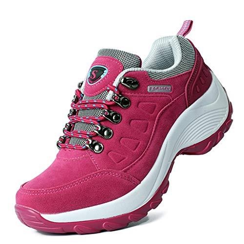 HDUFGJ Damen Trekking-& Wanderschuhe Verschleißfest Outdoor-Schuhe Sneaker Leichtgewicht rutschfeste Laufschuhe Bequem Mode Freizeitschuhe Faule Schuhe Turnschuhe Fitnessschuhe 40(Pink)