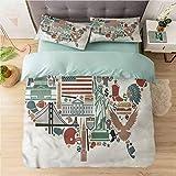 Aishare Store 3 Piece Duvet Cover Set Californai King, Map,Travel Landmarks USA Flag, Duvet Cover Matching 2 Pillow Shams,Bright Lovely Comforter Cover with Zipper Closure