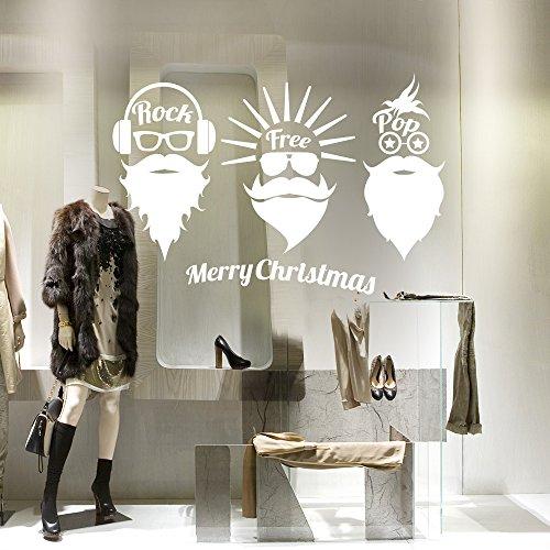 kina NT0281 Vetrofania Natalizia per vetrine Negozi - Decorazioni adesive per Natale 60x30 cm - Bianco