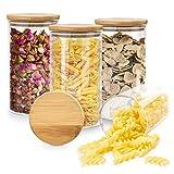 Dusor Vorratsdosen Glas 4 Set, Glasbehälter mit Deckel Vorratsdosen Luftdicht, 1L Kapazität Aufbewahrungsgläser Küche Vorratsglas, Vorratsbehälter für Gewürze/Spaghetti/Snacks/Haferflocken/Zucker