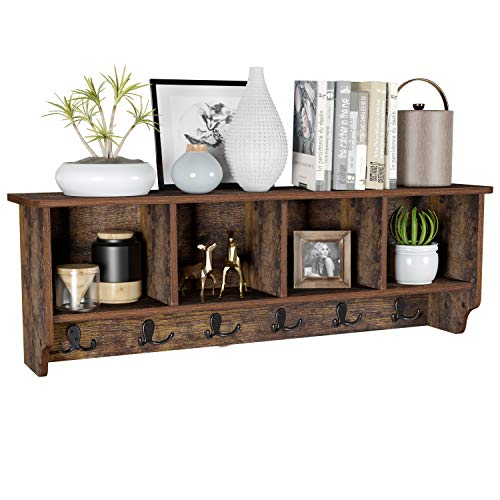 """HOMFA Wall Mounted Entryway Hanging Shelf, 42.5"""" Storage Cabinets Coat Rack with 6 Dual Hooks Display Multiuse Home Decor Furniture, Rustic Brown"""