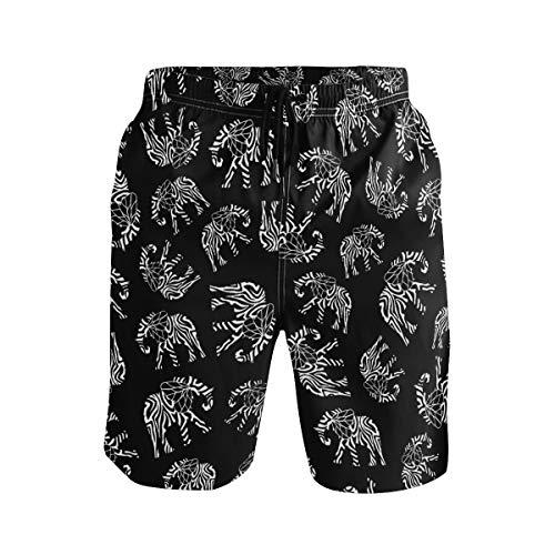 XiangHeFu Herren Strand Shorts Streifen Elefant Badehose mit Taschen