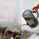 Abnaok Regadera para flores, de 1 L, de boca larga, de plástico, con asa para jardín, color gris