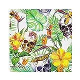 HaJie Tovaglioli di carta satinata, con foglie tropicali, motivo a forma di rana, con teschio, in poliestere, riutilizzabili, per tavolo e bambini, 50,8 x 50,8 cm, 4 pezzi