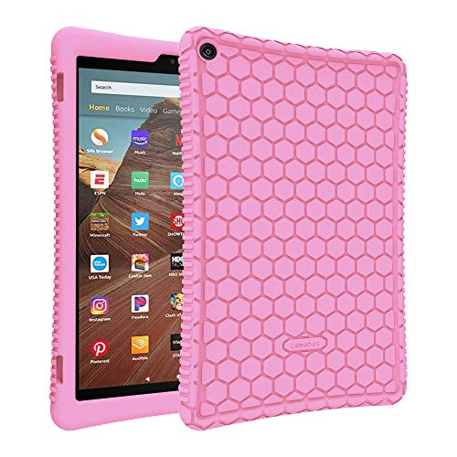 Fintie Silicone Case for All-New Amazon Fire HD 10 (Compatible with 7th and 9th Generations, 2017 and 2019 Releases) - [Honey Comb Series] [Kids Friendly] Light Weight Shock Proof Back Cover, Pink
