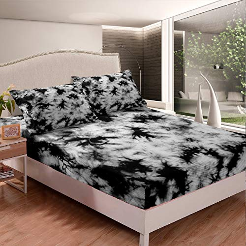 Retro Mist Tie Dye Sheet Set, Girls Boys Vintage Trippy Tie Dye Abstract Artwork Bedding Set For Kids Teens Adults, Decorative 2 Piece Fitted Sheet With 1 Pillow Sham, Twin Size, White Black