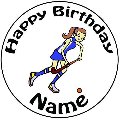 Personalisierter Hockey Spieler Zuckerguss Kuchen Topper / Kuchendekoration - 20 cm Großer Kreis - Jeder Name Und Jedes Alter