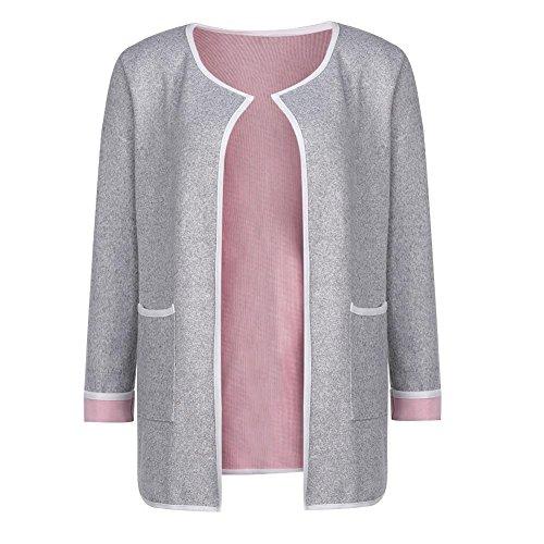 Domybest Dames herfst oversized gebreide lange mouwen los gebreid vest met zakken Medium grijs