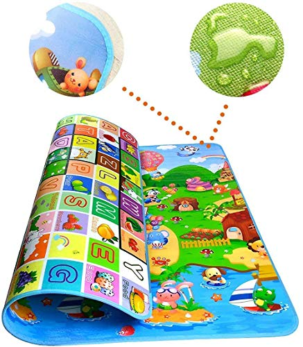 MOM'S Care Baby Double Sided Water Proof Mat with Zip Lock Bag for Babies to Crawl Play Mat Easy Portable Gym Carpet (Large Size - 6 Feet X 4 Feet) Unique Educational Designs (Multicolor)