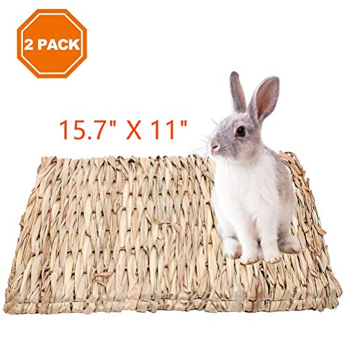 PAWCHIE 2 Pack Grass Mat for Rabbits Natural Hay Woven Bed Mat for Small Animal, Hamsters, Guinea...