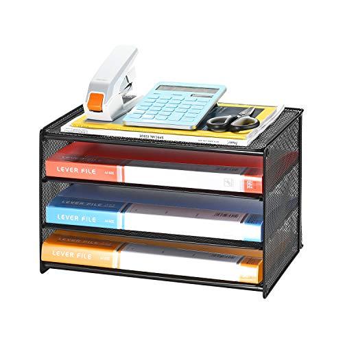 Samstar Briefablage aus Metall, 3 Etagen Dokumentenablage Organizer Papierablage Schreibtischablage,Schwarz …