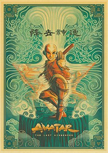 H/A Vintage Cartoon Tv Avatar The Last Airbender Retro Poster Leinwand Malerei Drucke Klares Bild Zimmer Bar Home Kunst Malerei Wandaufkleber Z567 50 * 70 cm