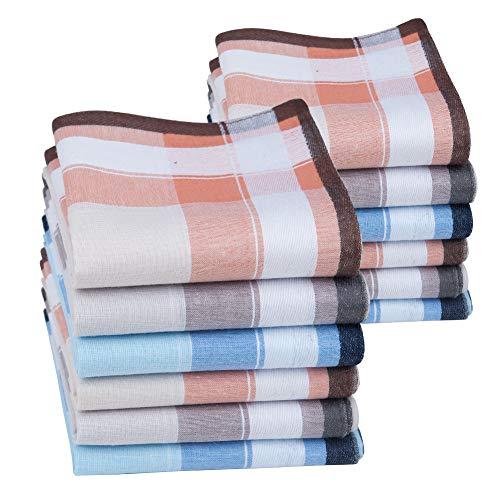 HOULIFE Pañuelos gruesos para hombre de algodón puro, 40 x 40 cm, 3 colores, para uso diario, 6/12 unidades multicolor 40x40cm