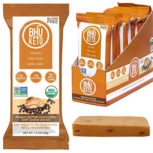 BHU Keto Bars - 2g Net Carbs, Gluten Free Refrigerated Snack Made with Organic, Clean Ingredients - 8 pack (Peanut Butter Chocolate Chip Cookie Dough)