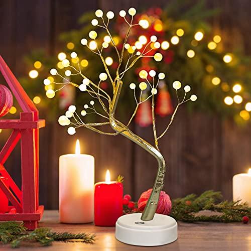 Árbol iluminado de mesa Bonsái con 36 perlas LED, decoración de Navidad, lámpara de árbol de mesa, funciona con batería/USB, fiestas, regalos de interior,exterior, dormitorio, decoración de escritorio