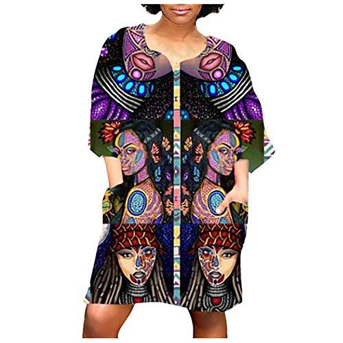 Your New Look Vestido de manga media con estampado africano retro de manga media con cuello en V y estampado retro marine M