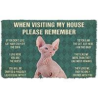 ドアマット3D印刷フロアマット屋外マットリビングルームmat3D覚えておいてくださいSphynx子猫猫ハウスルールカスタムドアマットパピーマットバスルームマット屋内屋外ドアマットクリスマスハロウィーン