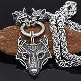 Hmwxbs Edelstahl-Wolf-Kopf-Ketten Viking Warrior Odin Hängende Halskette Für Herren-Accessoires Schmuck,70CM/28INCHES