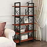 Bookshelf 5 Tier Bookcase Ladder Vintage Industrial Rustic Wood and Metal Etagere Modern Storage Shelf for Home Office (Retro Brown)