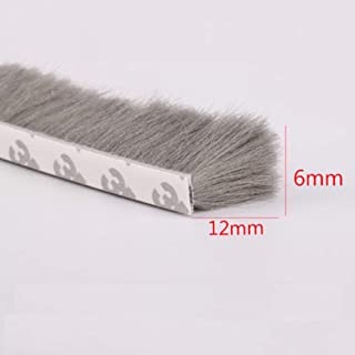 H-Density Felt Draught Excluder Wool Pile Weather Strip Adhesive Brush for Sliding Sash Window Door Seals 6x12mm 1/4-inch x 1/2-inch 32.8-Feet Gray (6x12mm, Gray)