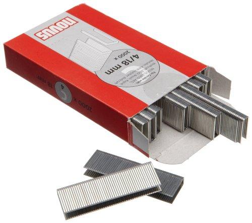 Novus Schmalrückenklammern 18 mm, XL-Packung, 2000 Klammern, Typ C4/18, zur Befestigung von Profilhölzern und Paneelen