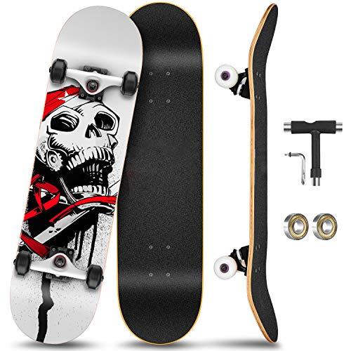 KOVEBBLE Skateboard Komplett Board 31 x 8 Zoll mit 11-lagigem Ahornholz und ABEC-11 Kugellager 95A Rollenhärte, für Kinder, Jugendliche und Erwachsene