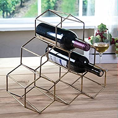 Metallic Hexagon Wine Bottle Holder Rack