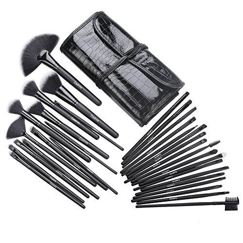 Cadrim Cepillos de Maquillaje Profesional Cepillos de Maquillaje de Ojos Rubor Contorno de los Labios Corrector Brochas Cosméticas (32 Negro)