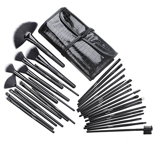 Cadrim 32 Teile Make Up Pinselset mit Etui, Makeup Bürsten Foundation Lidschatten Eyeliner Lippen...