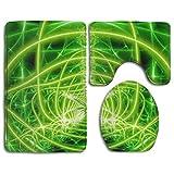 Juego De 3 Piezas De Marihuana Weed Leaf Green Soft Memory Foam Tub-Shower Set De Alfombras De Baño Respaldo De Goma Antideslizante Secado Rápido - Alfombrillas De Inodoro Absorbentes Alfombras De Bañ