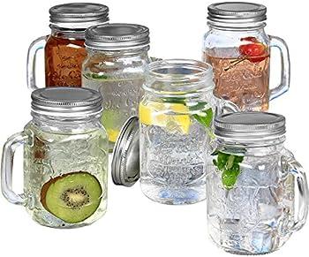 6-Set Estilo Mason Jar Mugs with Handles Old Fashioned Drinking Glass