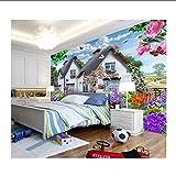 Jukunlun Papier Peint Sur Mesure Enfants Fond D'Écran 3D Ciel Bleu Chaumière Chalet Multicolore Petit Chien De Jardin Fond-400X280Cm