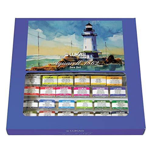 LUKAS Aquarell 1862 Artist Seaside-Themed Watercolor Paint Sets - Complete Professional Quality Kit of Brilliant Beachside Colors - 24 Whole Pans
