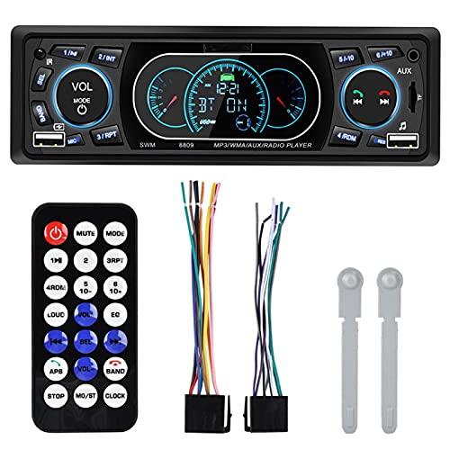 minifinker Radio de Coche Bluetooth con Reproductor de MP3 FM para Coche de 4 x 60 W con diseño de Panel de Instrumentos con Doble USB, para Altavoz de Coche