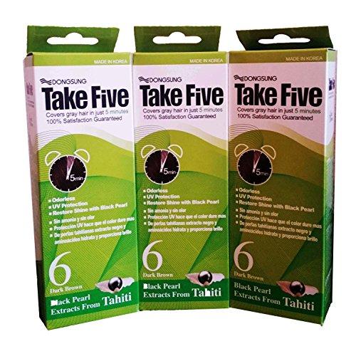 Take Five Take five couverture hair dye gris no.6 brun foncé sans odeur pas de protection ammoniac uv, la vitamine c (pack de 3)