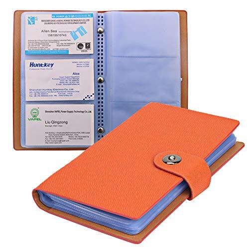 Tenn Well - Libro para tarjetas de visita, 300 celdas, con cierre magnético para organizar tarjetas, color naranja