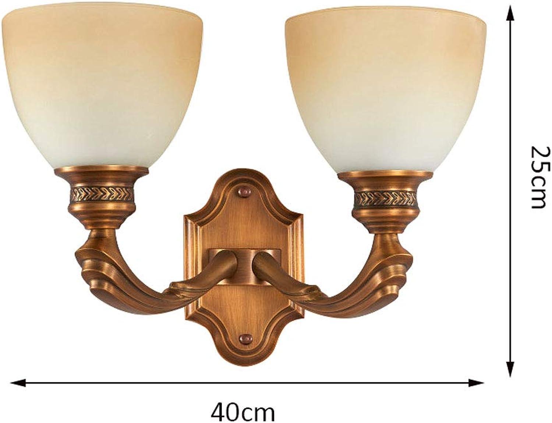 ZDD Retro Kupfer Wandleuchte, einfache Wohnzimmer Schlafzimmer Nacht Korridor Gang Dekoration Lampe E27 Lichtquelle (gre   W40xH25cm)