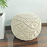IVAZA Pouf Puffy for Living Room Sitting Round Ottoman Bean Filled Stool