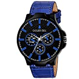 Dial Color: Black; Dial Material: Brass ; Dial Shape: Round Dial Diameter: 35mm; Strap Color: Blue Strap Material: Leather; Strap Width: 22mm Watch Movement Type: Quartz Warranty Type: Manufacturer