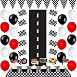 51 Pack Race Car Birthday Party Supplies Set with Race Car Signs Racing Banner Pennant Flags,Checkered Flag Table Cover,black white and red Balloons Perfect for Racing Party Boy's Birthday party