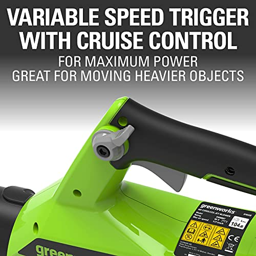 Greenworks Tools 40 V Axial Cordless Leaf Blower G40AB (Li-Ion 40V 177 km/h Air Speed Powerful Axial Blower with Electronic Speed Control Including Battery and Charger)