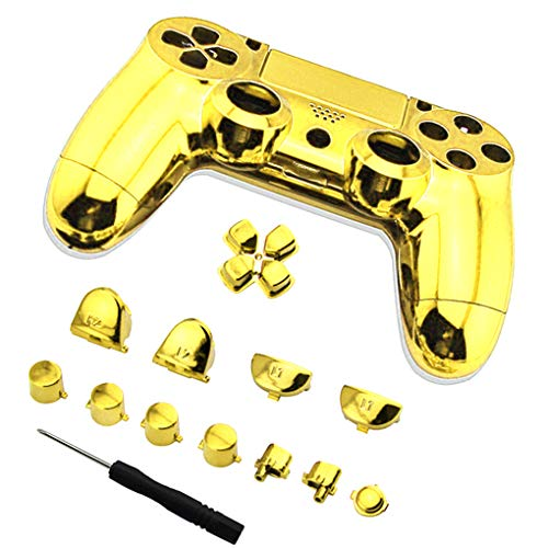 Floridivy Full Plated Controller Set Bumpers Triggers Dpad LB RB LT RT Case Schroevendraaier Vervanging Voor PS4 Controller, Show as picture, goud