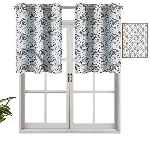 Hiiiman Cenefa de cortina para ventana de privacidad interior, diseño de estrellas de Navidad, juego de 2, 42 x 36 pulgadas para puerta corredera de patio o comedor