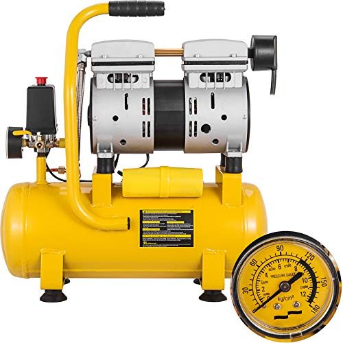Mophorn Compresor de Aire Compresor sin Aceite de Lubricación de Aceite Portátil Compresor (750W/9L)