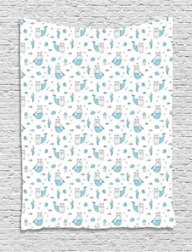 prz0vprz0v Tapiz de sirena de gato de 60 x 80 pulgadas, con elementos submarinos, colgante de pared para dormitorio, sala de estar, color azul cielo pálido, gris pálido y blanco