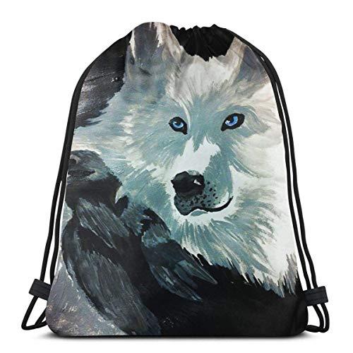 OPLKJ Kordelzug Rucksack Der Wolf und die Krähe 3D-Druck Schnur Tasche Sackpack Cinch Tragetaschen Geschenke für Frauen Männer Fitnessstudio Einkaufen Sport Yoga