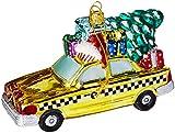 Kurt Adler NYC Checker Taxi with Tree Glass...