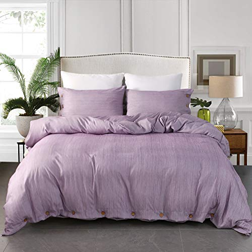 JELLYMONI Purple Duvet Cover Set, 3-in-1 Luxury Button Bedding Set, Ultra Soft Breathable Hypoallergenic Microfiber, Easy Care,Simple Style,Solid Color Duvet Cover Queen Size(90'x90')(No Comforter)