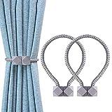 OTHWAY Fibbia in Tieback per Fermatenda Tende Holdback, 2 Pezzi Clip magnetiche per Tende per Tende (Grigio)