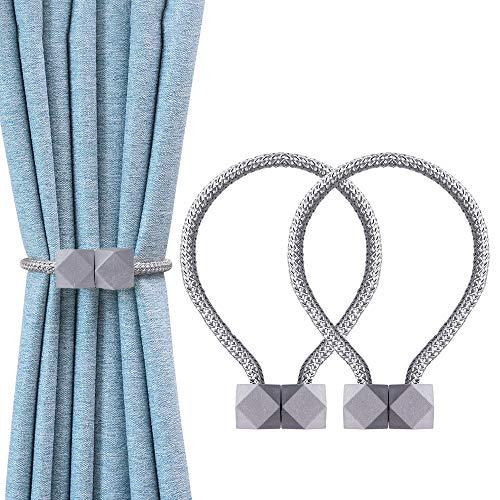 OTHWAY Magnetische Vorhang Raffhalter, 2 Stück Vorhang Clips Seil Rückwärtige Vorhang Halter Schnallen Vorhang Binder Gardinenhalter für Haus Dekoration (Light Grey)